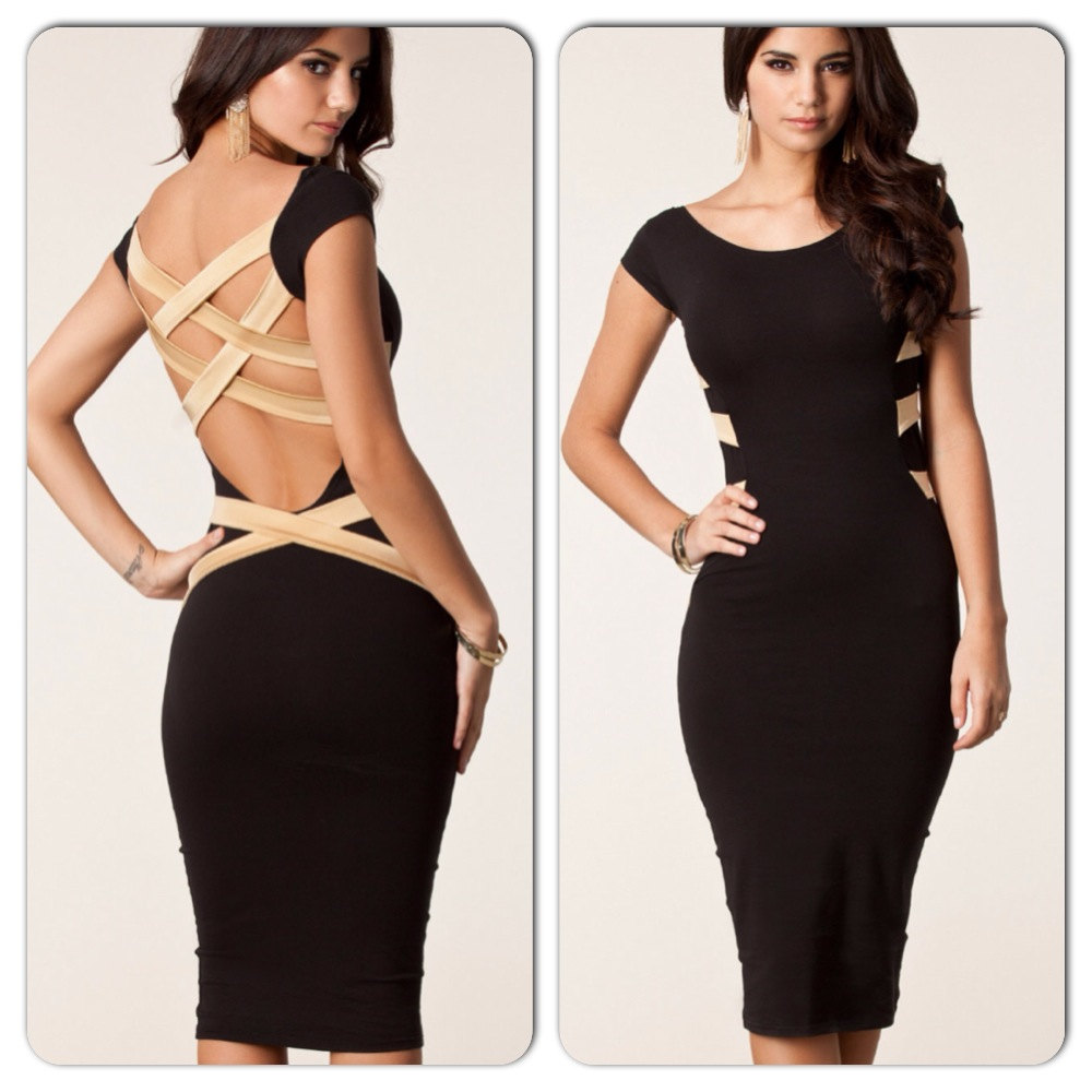 Sexy Black Criss Cross Strap Back Midi Dress