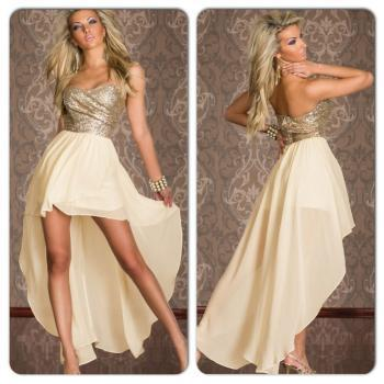 Sexy Gold Sequin Tube Top High Waist Hi Low Maxi Dress
