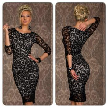 Sexy Black White Paisley Print Bodycon Dress
